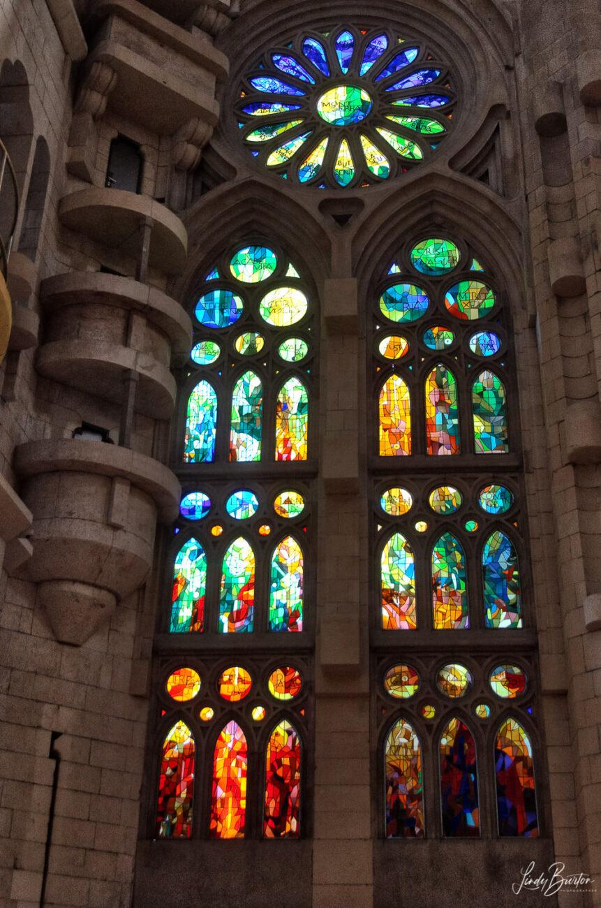 Stained Glass Windows of Sagrada Familia Barcelona Spain