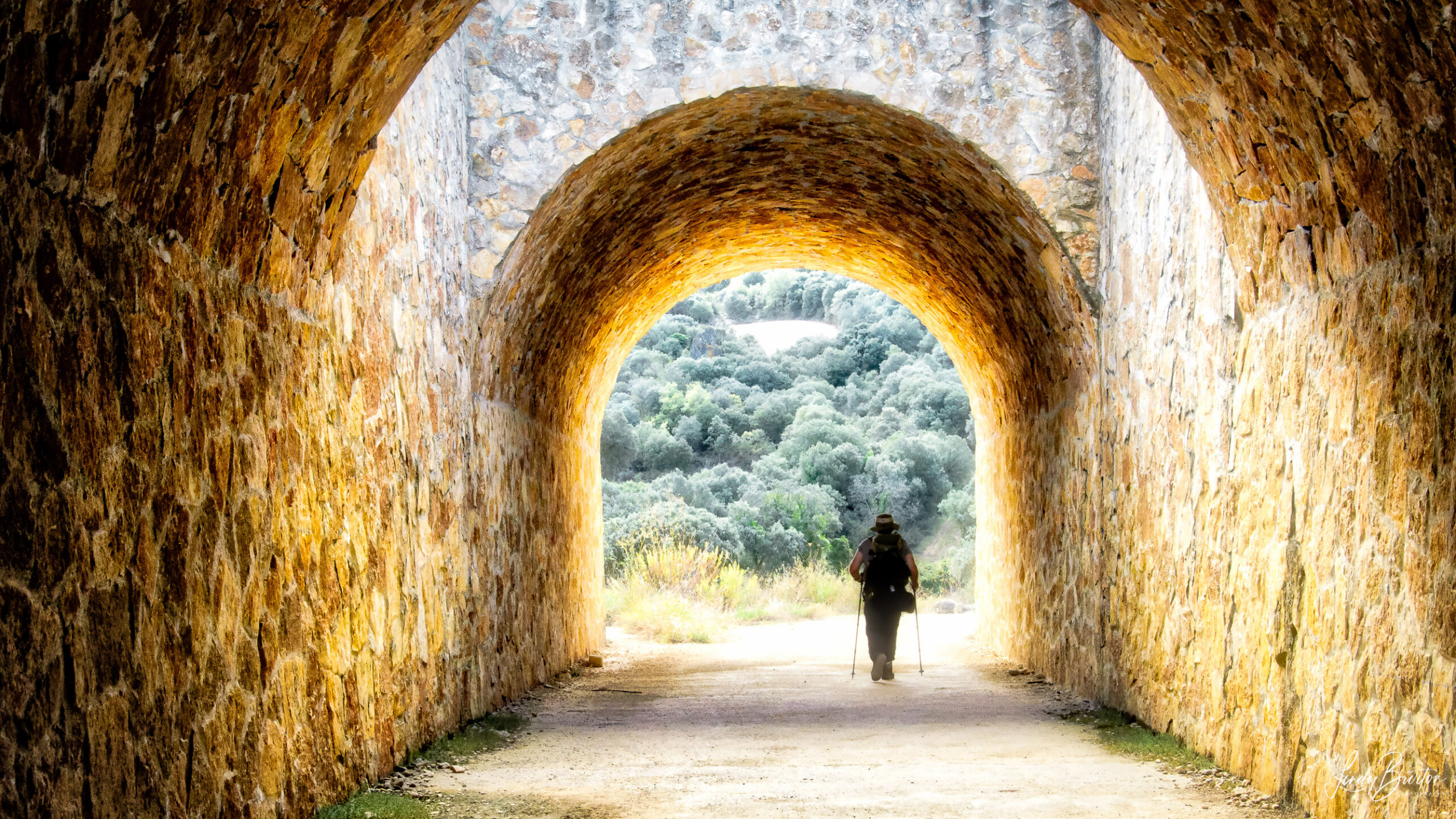 Camino Frances Pilgrim walking under the overpass nn the way to Estella Spain